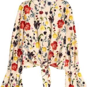 H&M Floral Tie Front Cotton Blouse